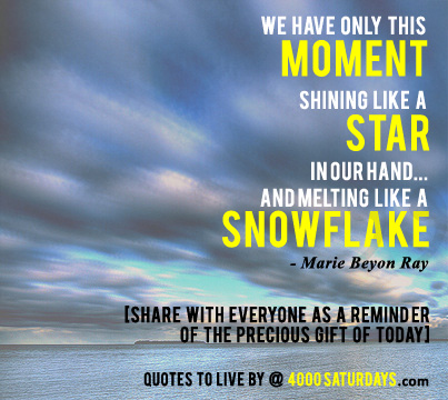 we only have this moment shining like a star melting snowflake